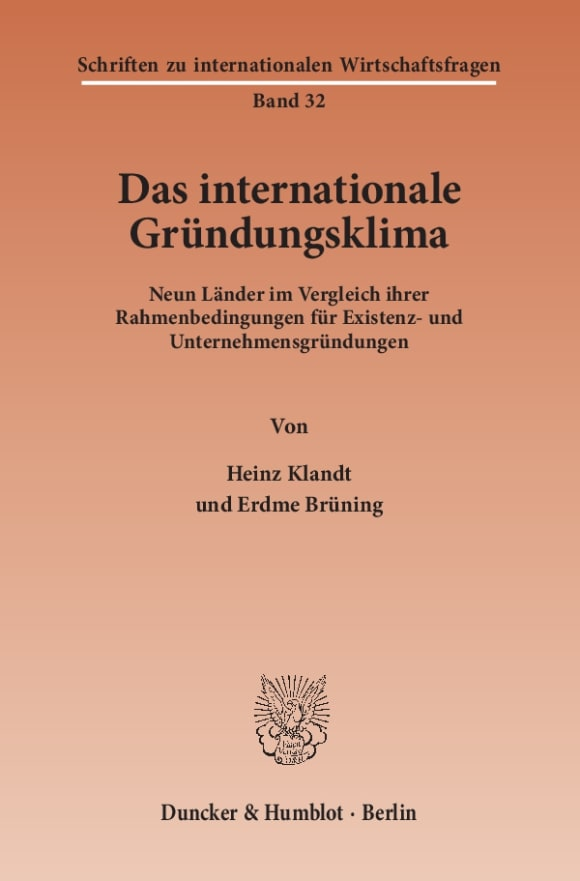 Cover Das Internationale Gründungsklima