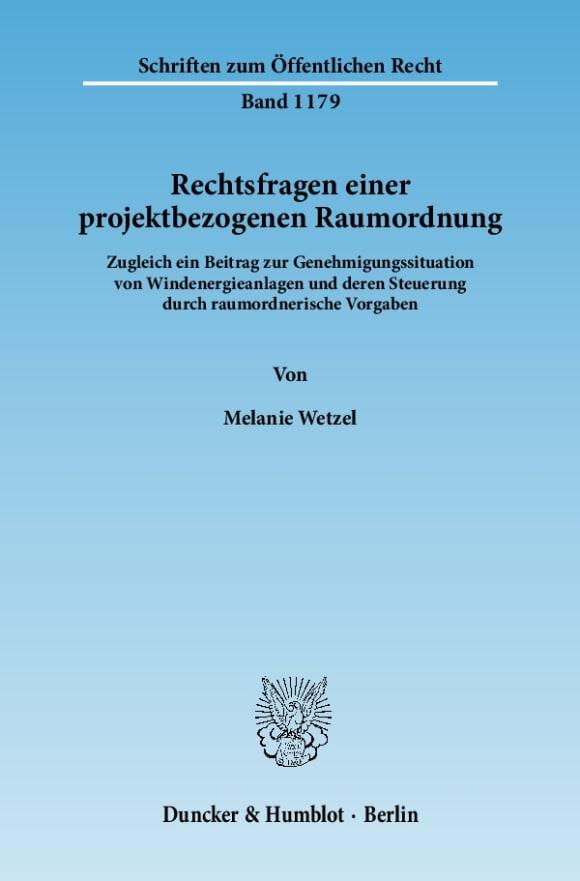 Cover Rechtsfragen einer projektbezogenen Raumordnung