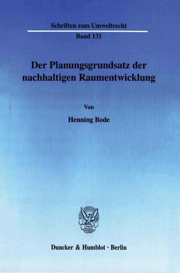 Cover Der Planungsgrundsatz der nachhaltigen Raumentwicklung