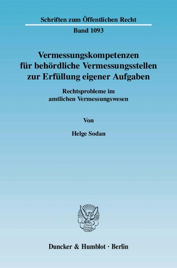 Cover Vermessungskompetenzen für behördliche Vermessungsstellen zur Erfüllung eigener Aufgaben