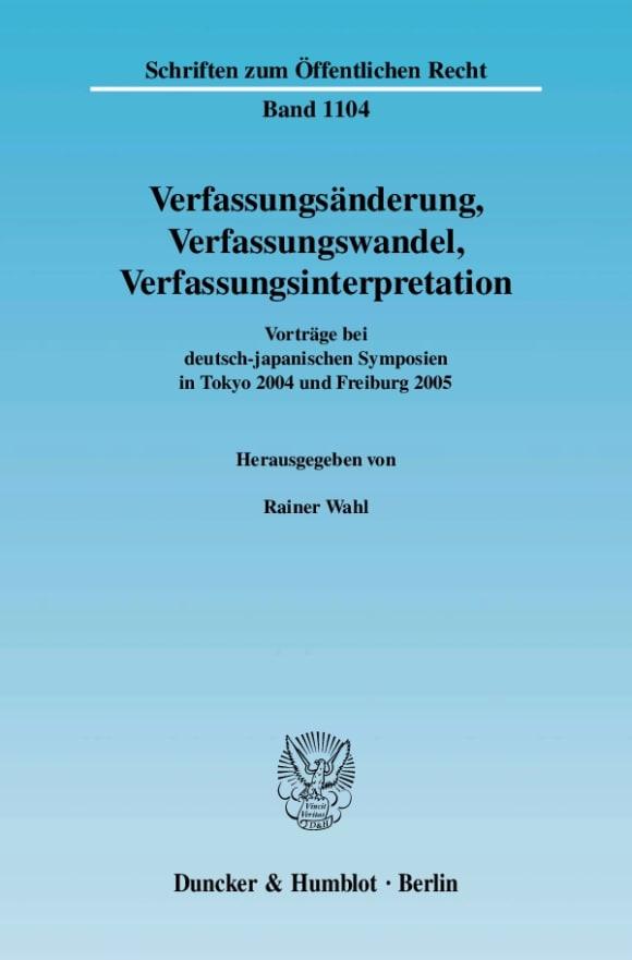 Cover Verfassungsänderung, Verfassungswandel, Verfassungsinterpretation
