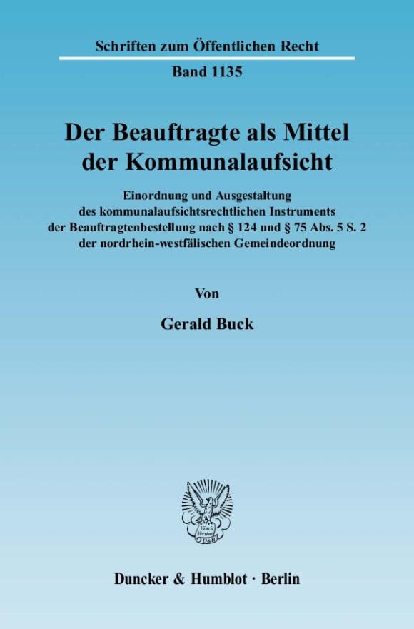 Cover Der Beauftragte als Mittel der Kommunalaufsicht