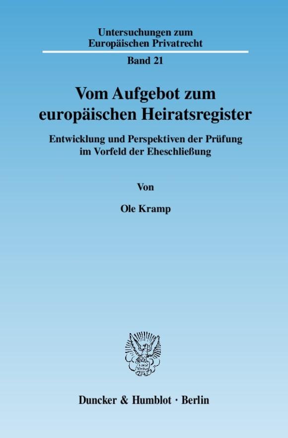 Cover Vom Aufgebot zum europäischen Heiratsregister