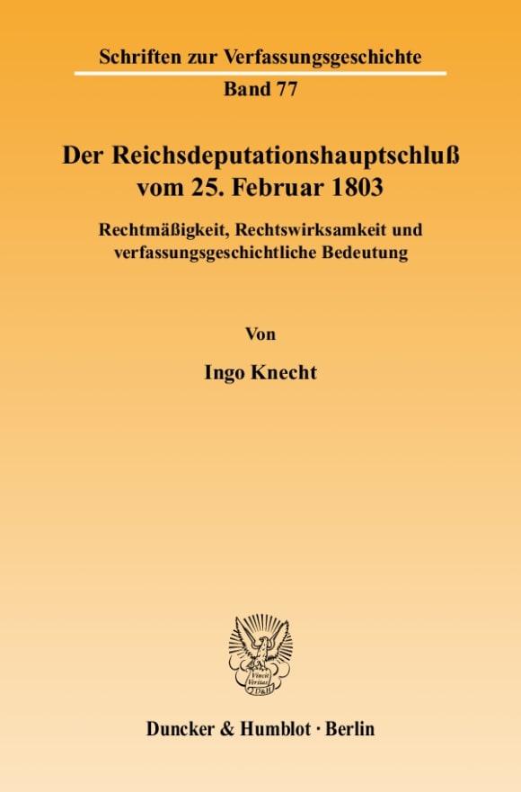 Cover Der Reichsdeputationshauptschluß vom 25. Februar 1803