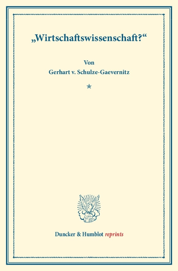 Cover »Wirtschaftswissenschaft?«