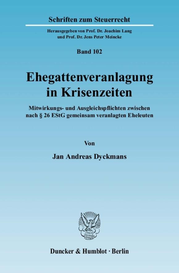 Cover Ehegattenveranlagung in Krisenzeiten