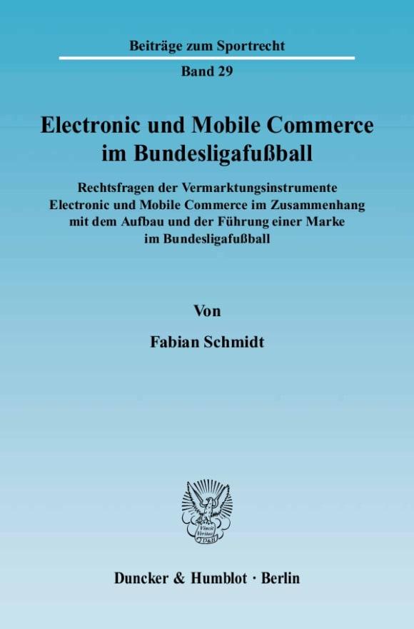 Cover Electronic und Mobile Commerce im Bundesligafußball