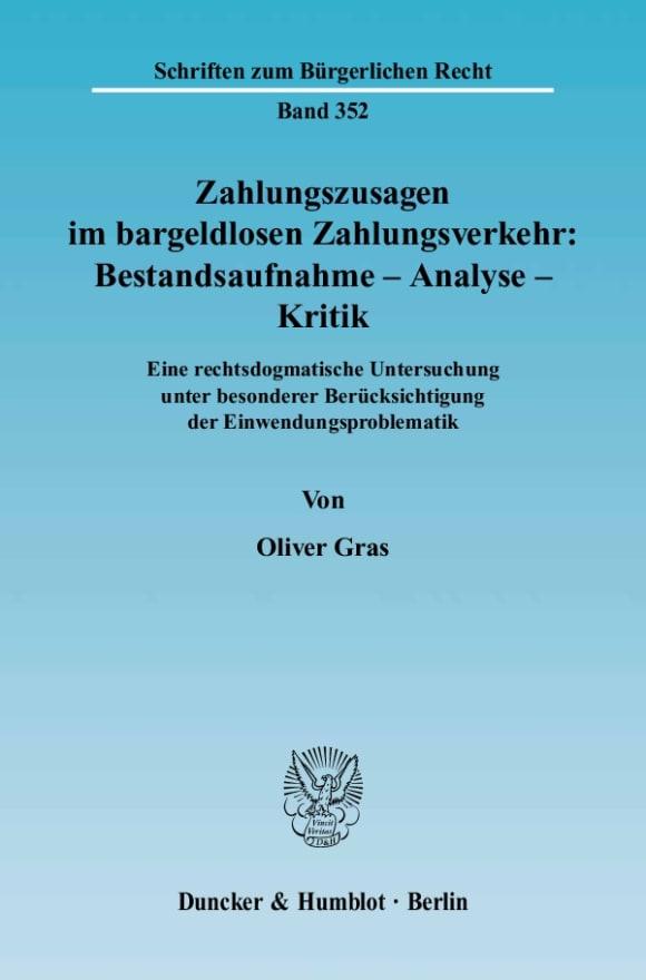 Cover Zahlungszusagen im bargeldlosen Zahlungsverkehr: Bestandsaufnahme - Analyse - Kritik
