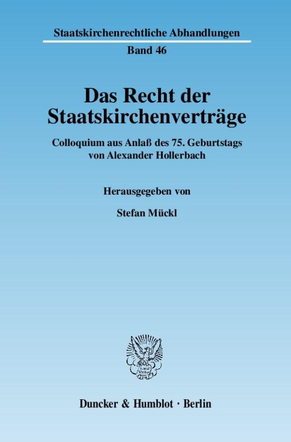 Cover Das Recht der Staatskirchenverträge
