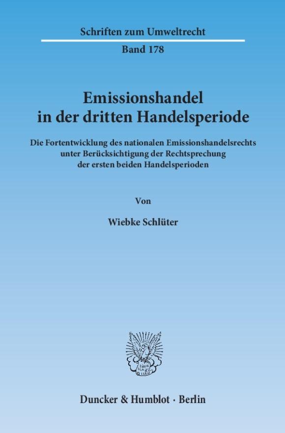 Cover Emissionshandel in der dritten Handelsperiode