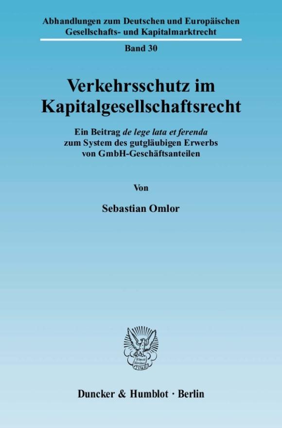 Cover Verkehrsschutz im Kapitalgesellschaftsrecht