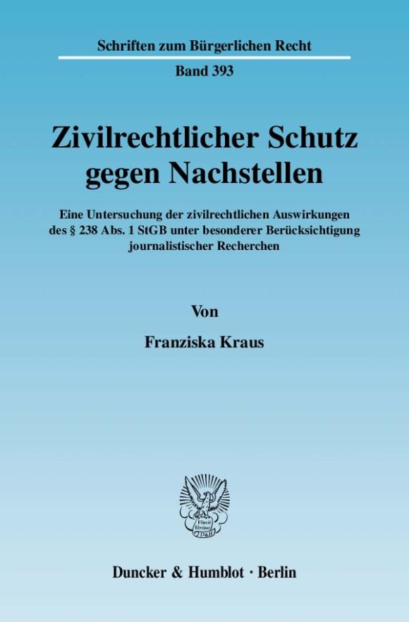 Cover Zivilrechtlicher Schutz gegen Nachstellen