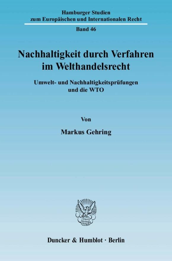 Cover Nachhaltigkeit durch Verfahren im Welthandelsrecht