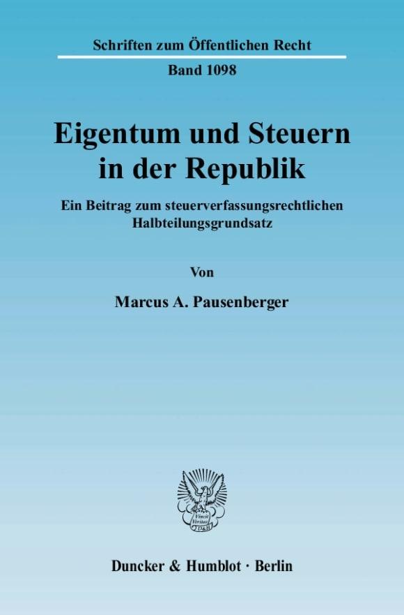 Cover Eigentum und Steuern in der Republik
