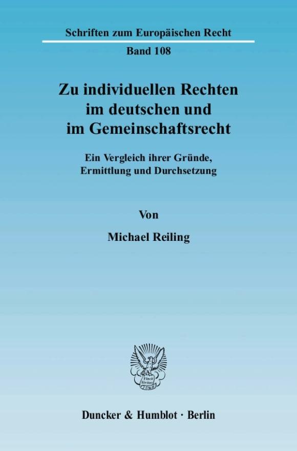 Cover Zu individuellen Rechten im deutschen und im Gemeinschaftsrecht