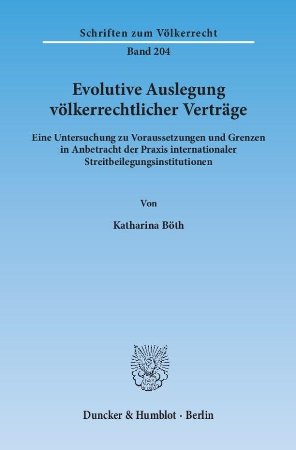 Cover Evolutive Auslegung völkerrechtlicher Verträge