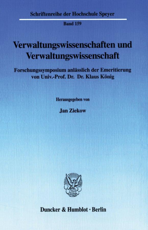 Cover Verwaltungswissenschaften und Verwaltungswissenschaft