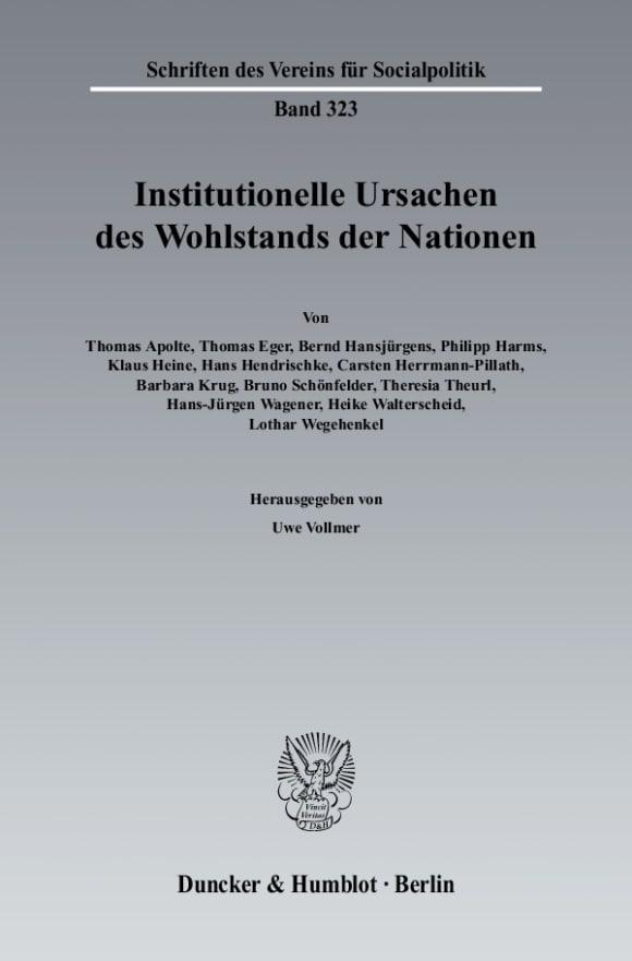 Cover Institutionelle Ursachen des Wohlstands der Nationen