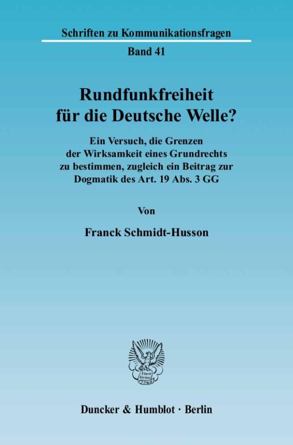 Cover Rundfunkfreiheit für die Deutsche Welle?