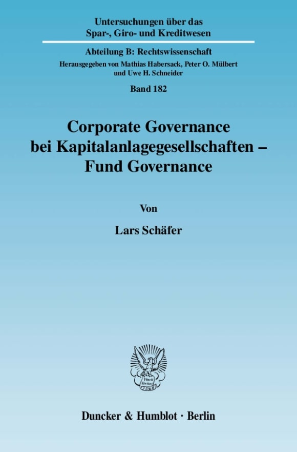 Cover Corporate Governance bei Kapitalanlagegesellschaften - Fund Governance