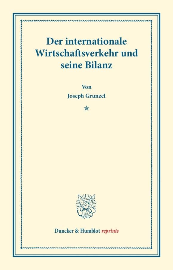 Cover Der internationale Wirtschaftsverkehr und seine Bilanz