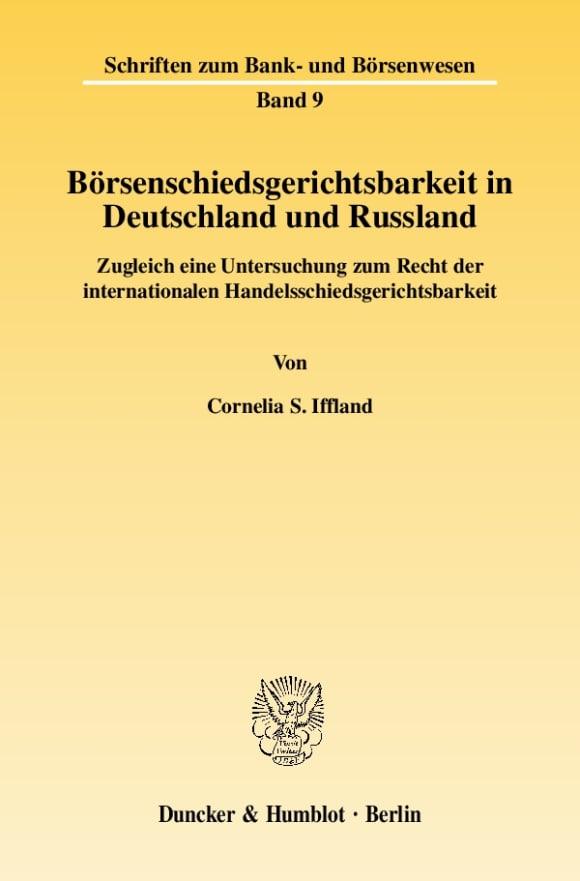 Cover Börsenschiedsgerichtsbarkeit in Deutschland und Russland
