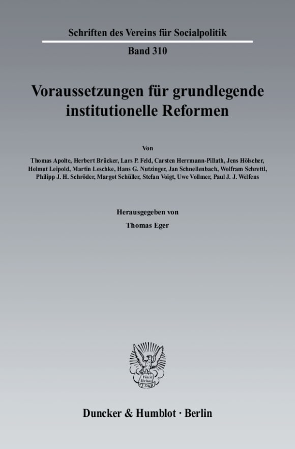 Cover Voraussetzungen für grundlegende institutionelle Reformen