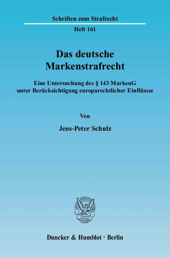 Cover Das deutsche Markenstrafrecht