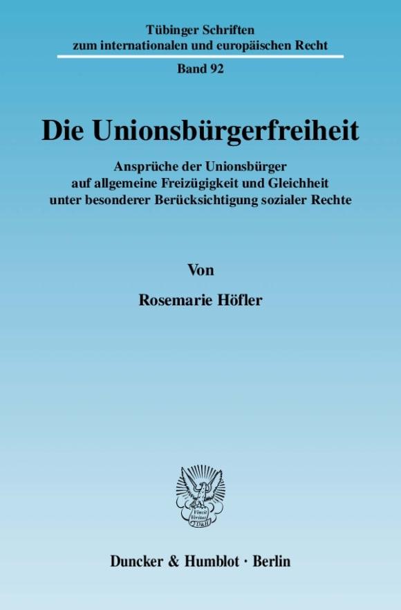 Cover Die Unionsbürgerfreiheit