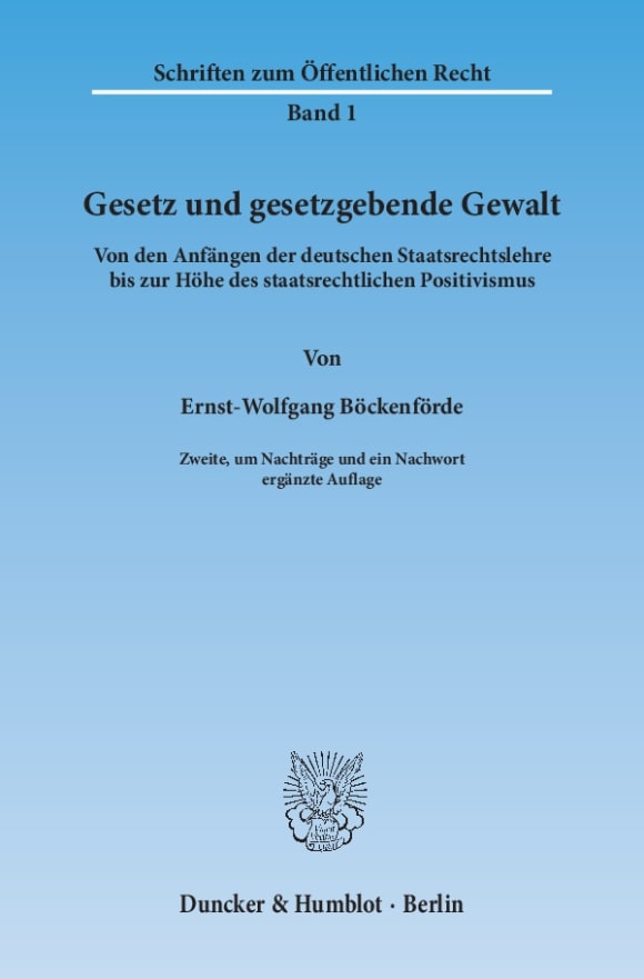 Cover Gesetz und gesetzgebende Gewalt