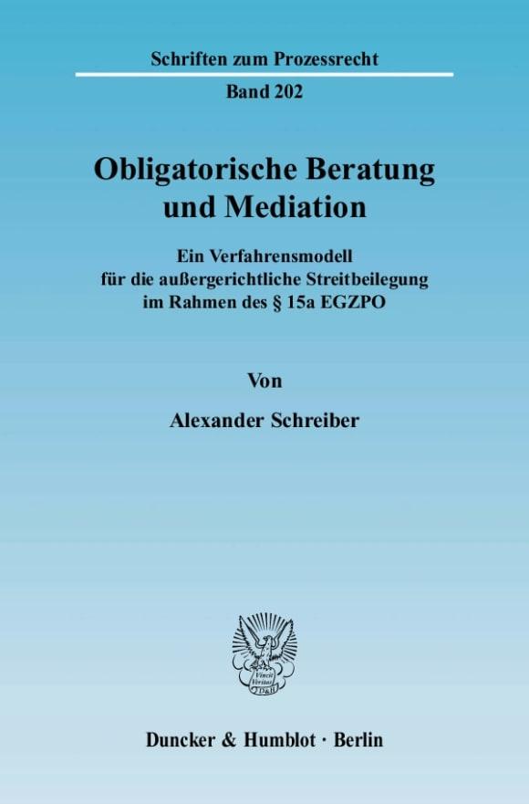 Cover Obligatorische Beratung und Mediation