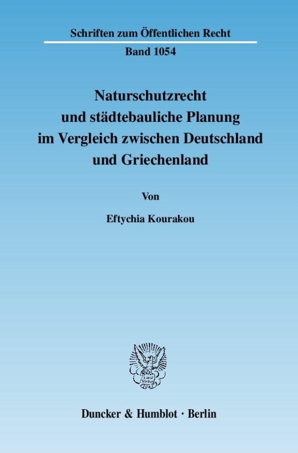 Cover Naturschutzrecht und städtebauliche Planung im Vergleich zwischen Deutschland und Griechenland