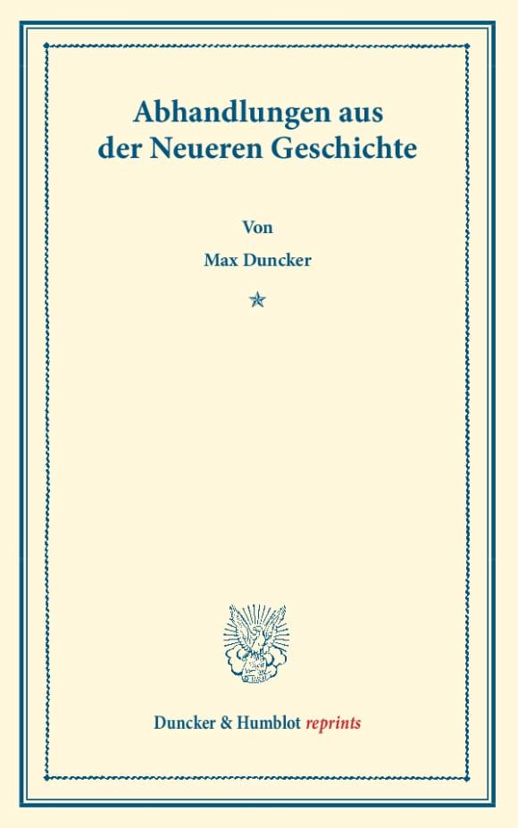 Cover Abhandlungen aus der Neueren Geschichte