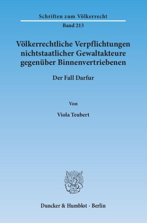 Cover Völkerrechtliche Verpflichtungen nichtstaatlicher Gewaltakteure gegenüber Binnenvertriebenen