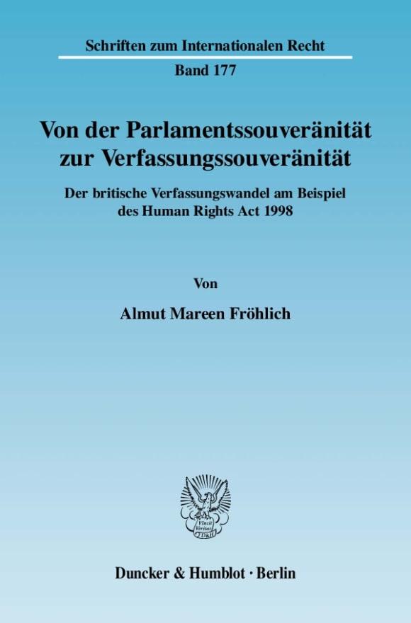 Cover Von der Parlamentssouveränität zur Verfassungssouveränität