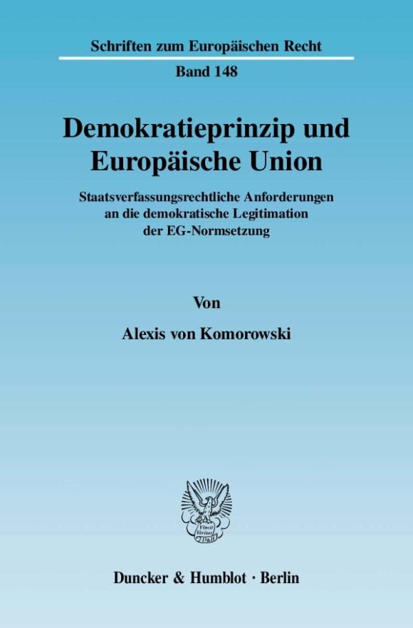 Cover Demokratieprinzip und Europäische Union