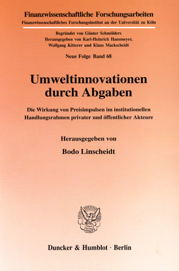 Cover Umweltinnovationen durch Abgaben