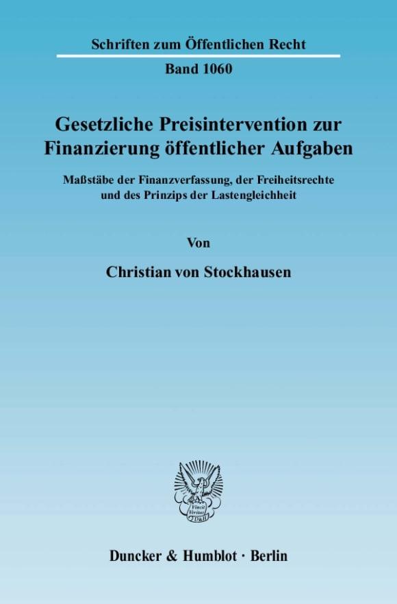 Cover Gesetzliche Preisintervention zur Finanzierung öffentlicher Aufgaben