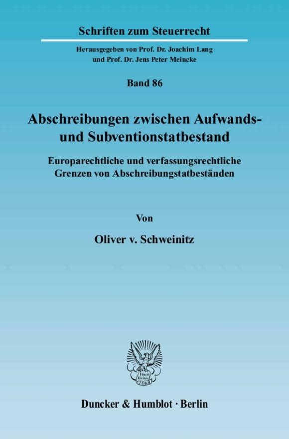 Cover Abschreibungen zwischen Aufwands- und Subventionstatbestand