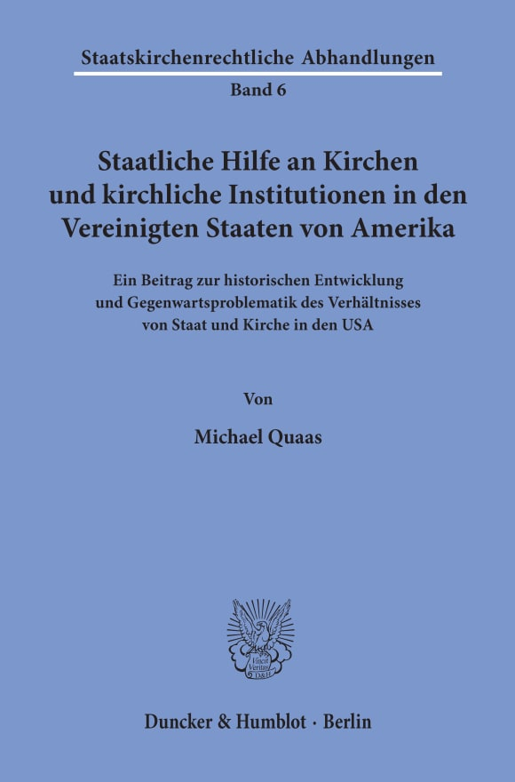 Cover Staatliche Hilfe an Kirchen und kirchliche Institutionen in den Vereinigten Staaten von Amerika