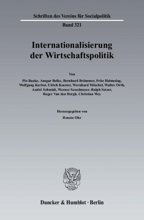 Cover Internationalisierung der Wirtschaftspolitik