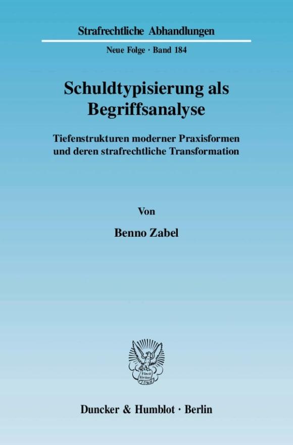 Cover Schuldtypisierung als Begriffsanalyse