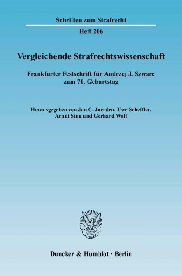 Cover Vergleichende Strafrechtswissenschaft