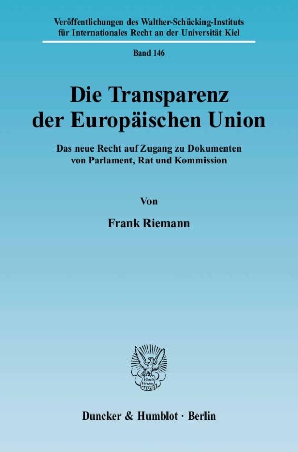 Cover Die Transparenz der Europäischen Union