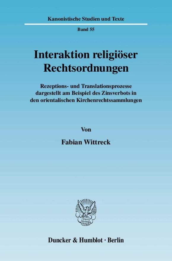 Cover Interaktion religiöser Rechtsordnungen