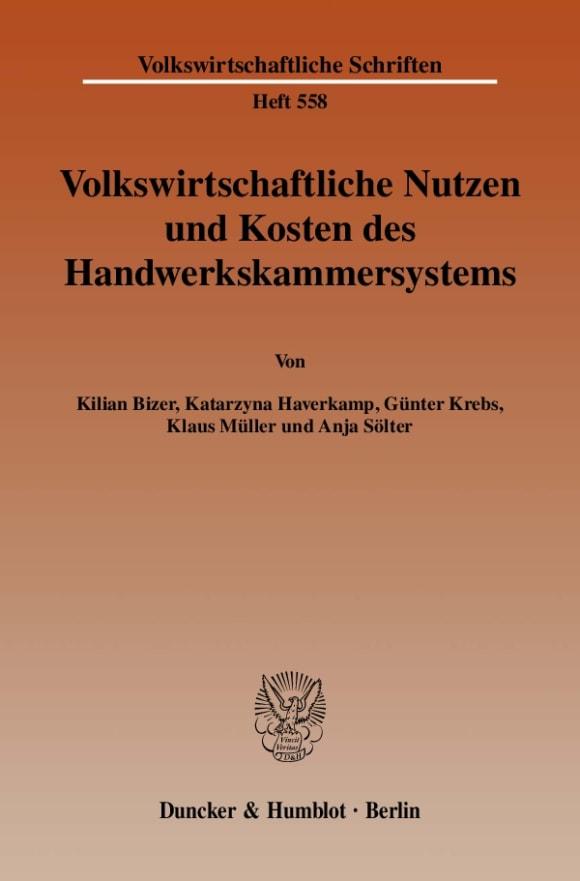 Cover Volkswirtschaftliche Nutzen und Kosten des Handwerkskammersystems