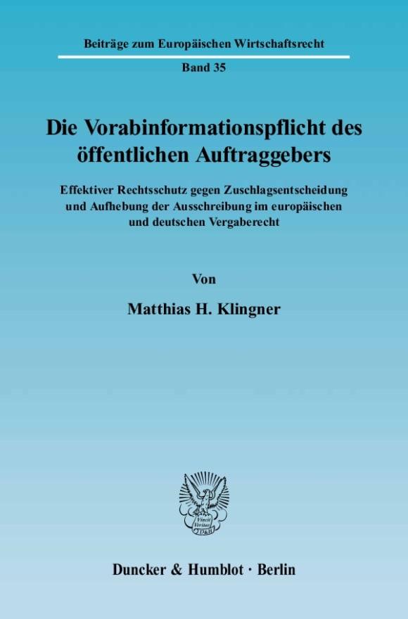 Cover Die Vorabinformationspflicht des öffentlichen Auftraggebers
