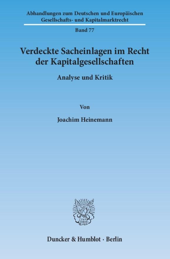 Cover Verdeckte Sacheinlagen im Recht der Kapitalgesellschaften