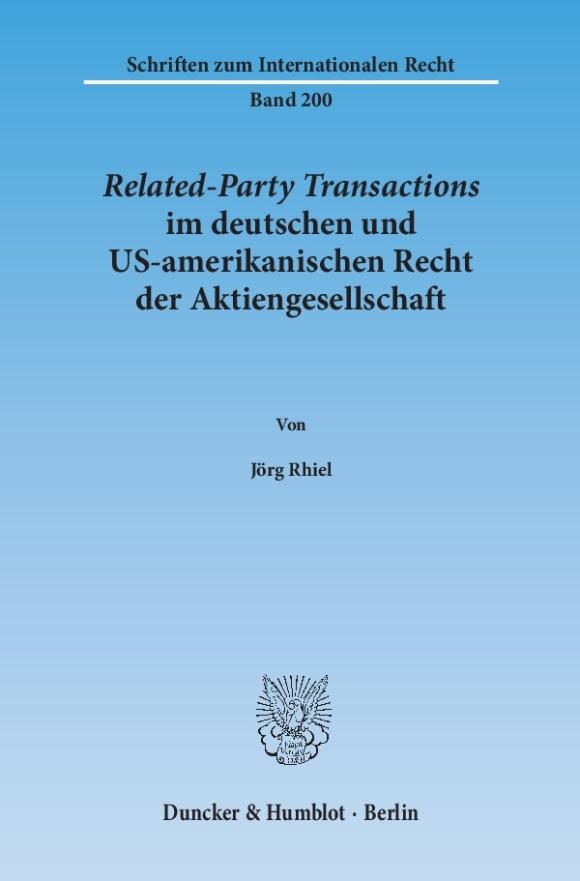 Cover Related-Party Transactions im deutschen und US-amerikanischen Recht der Aktiengesellschaft