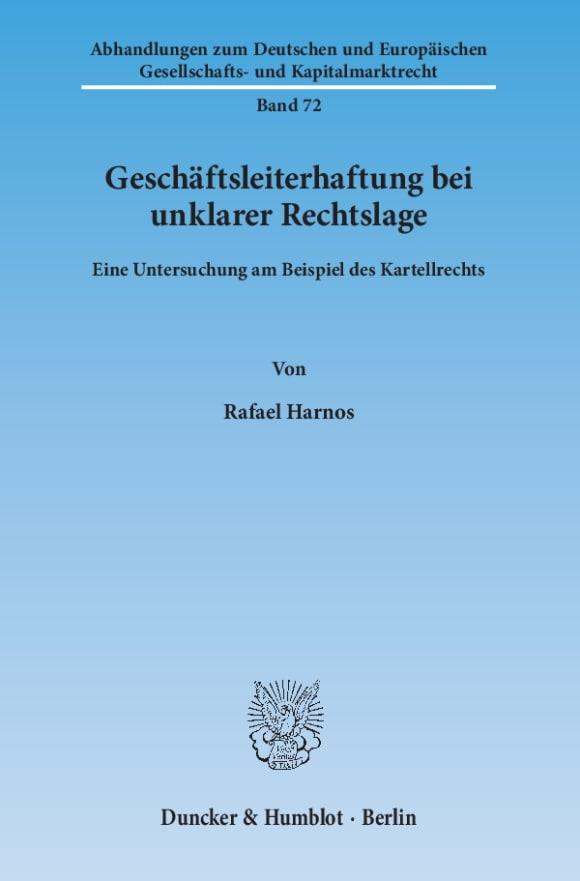 Cover Geschäftsleiterhaftung bei unklarer Rechtslage
